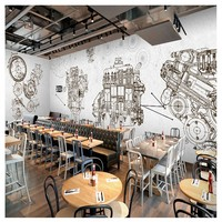 Free Shipping 3D Industrial Style Auto Parts Wallpaper Hand Painted Lines Metal Machinery KTV Network Coffee