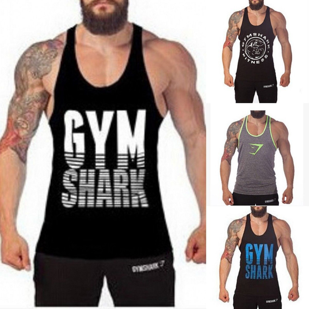 eb8e81565d0e53 Men Sport Vests Gym T-shirt Body-building Muscle Sleeveless Shirts Sports  Training Fitness Tops