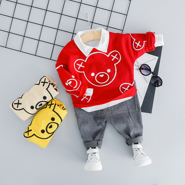 2-Pieces Cute Bear Logo Design Long Sleeve Top with Pants Set for Baby / Toddler Boy