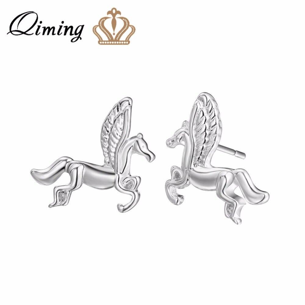 2019 Neuestes Design Qiming 2017 Silber Mythische Pegasus Stud Ohrringe Für Frauen Mode Niedlichen Schmuck Pferd Flügel Ohrringe Party Geschenk Baby Schmuck Hochglanzpoliert