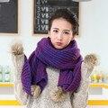 Grande bola de lã cachecóis de lã Senhoras outono e inverno bonito grosso extra longo moda colar quente