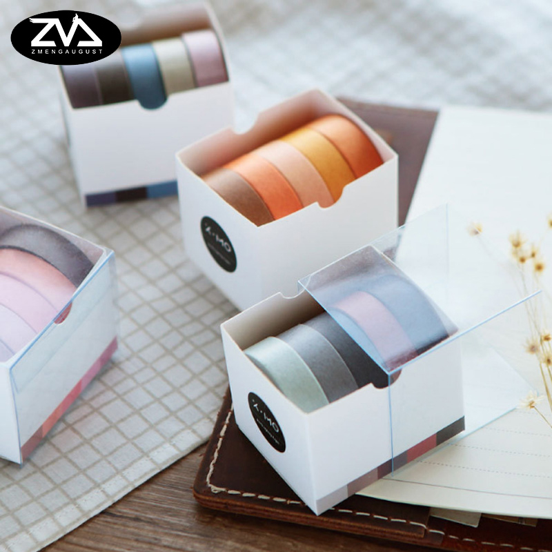 5X 10mm*5M Solid color paper tape DIY decorative scrapbook masking tape washi tape stationery  office adhesive tape large size 200mm 5m old newspaper poste letter pattern japanese washi decorative adhesive tape diy masking paper tape sticker page 6