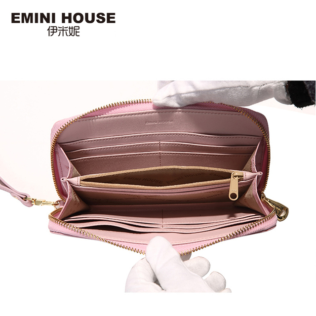 EMINI HOUSE Ostrich Pattern Wallet Women Genuine Leather Long Wallets Zipper Coin Purse Card Holder Casual Clutch Travel Wallets Women Wallets