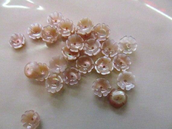 Haute qualité 50 pcs 8-15mm Rose vadrouille coquille fluoriale casquettes Rose fleur sculptée violet Rose rouge coquille perles - 2