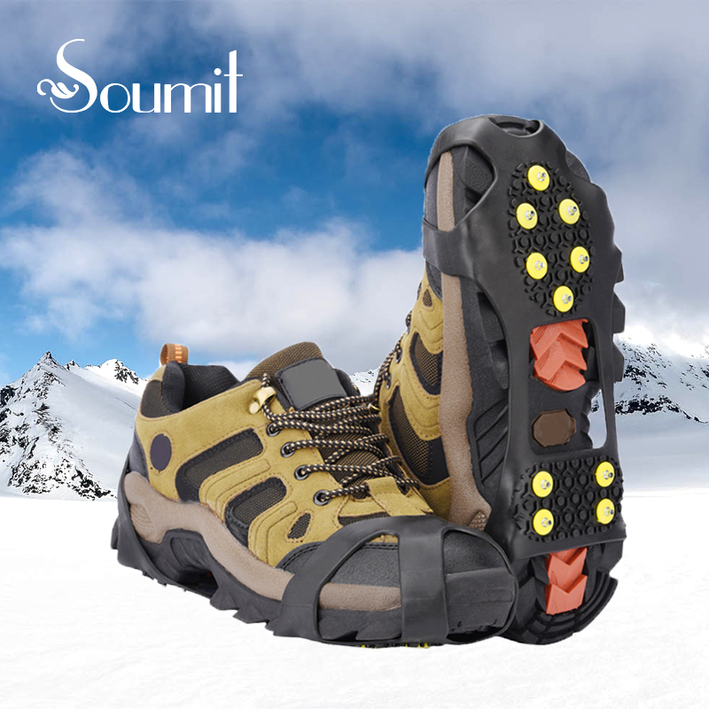 Soumit 10 Studs Ice Gripper Spike for Shoes Outdoor Anti Slip Climbing Snow Spikes Crampons Cleats Chain Claws Grips Boots Cover цена