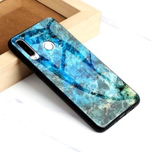For Huawei P30 Lite Case Tempered Glass Cover Marble Pattern Full Protector Etui Coque P30Lite Casing Fundas Housing