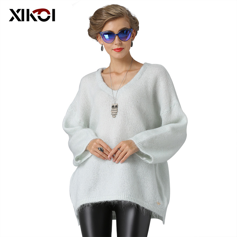 XIKOI คริสต์มาสผู้หญิงเสื้อกันหนาวแฟชั่น Casual V คอผู้หญิงเสื้อกันหนาวและ Pullover หนาฤดูหนาวถักเสื้อกันหนาว-ใน เสื้อคลุมสวมศีรษะ จาก เสื้อผ้าสตรี บน AliExpress - 11.11_สิบเอ็ด สิบเอ็ดวันคนโสด 1