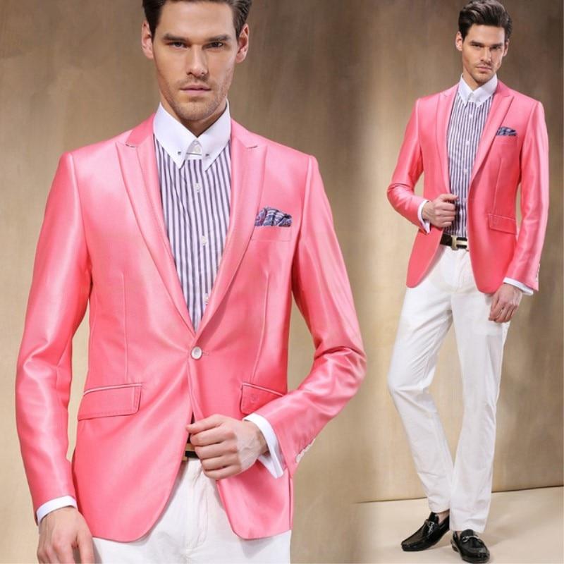 TPSAADE Coral Blazer White Pants Satin Tuxedos Groom Man