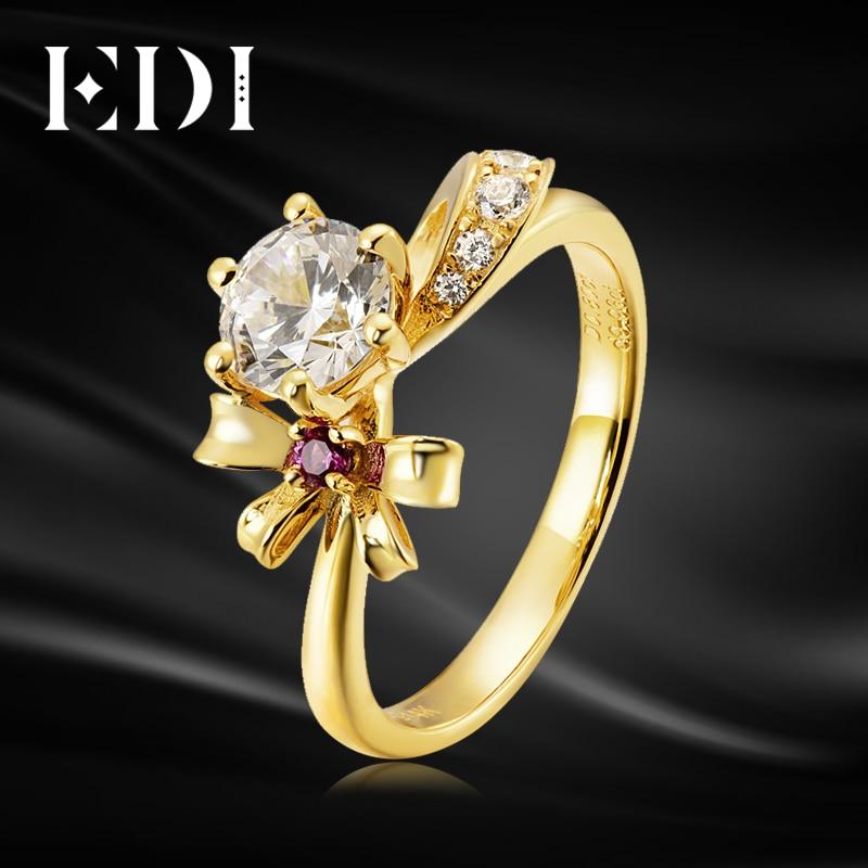все цены на EDI Bowknot 14k 585 Yellow Gold 0.8ct Moissanites Diamond Natural Ruby Ring Wedding Jewelry For Women онлайн