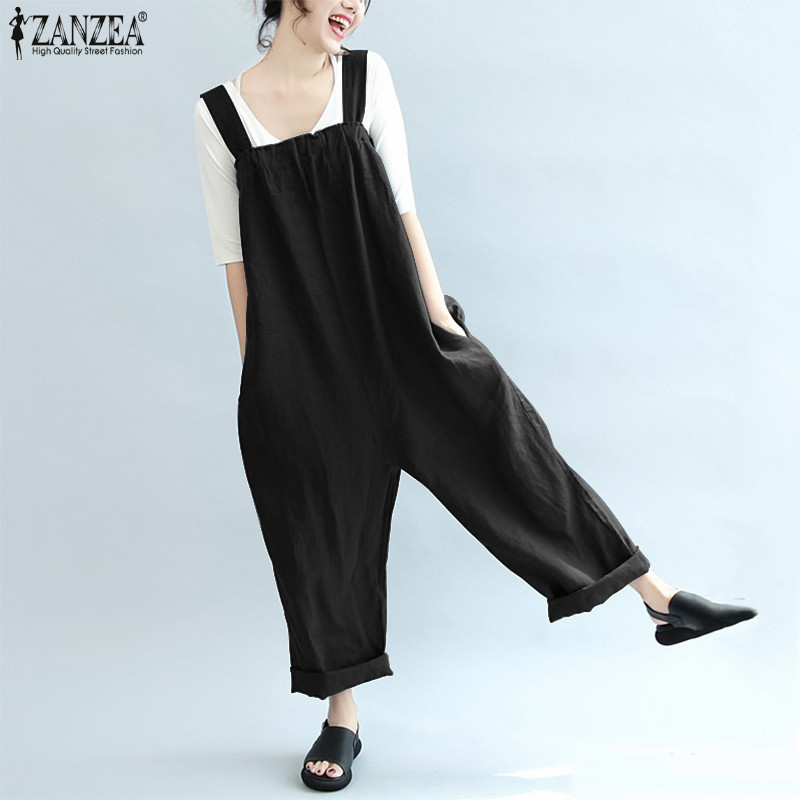 ZANZEA 2018 Summer Autumn Rompers Women Overall Jumpsuit Strap Loose Cotton Bodysuit Combinaison Femme Casual Playsuit Plus Size