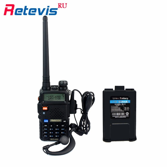 5W Walkie-Talkie Retevis RT-5R Dual Band VHF/UHF Radio Portable Radio Set Amateur Two Way Radio Transceiver +A Original Battery