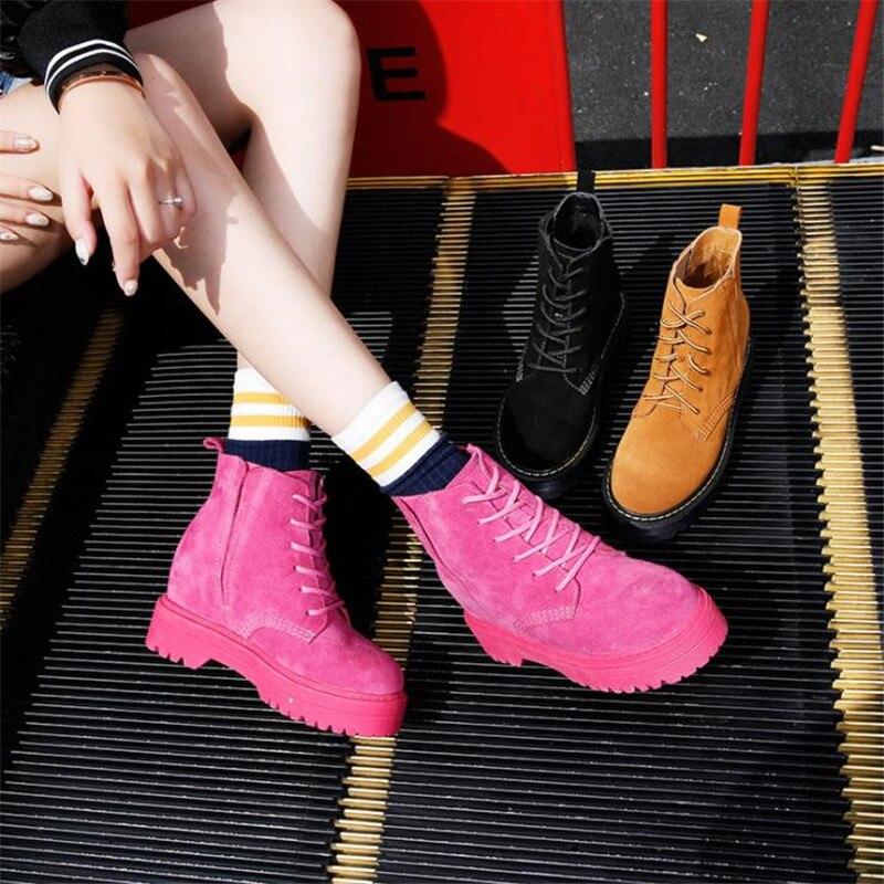 Damet Chica Las brown Tobillo Invierno Piel pink Botas Plataforma Nieve Del La Zapatos Cuero Top Black De Genuino Mujeres Motocicleta 11PdX