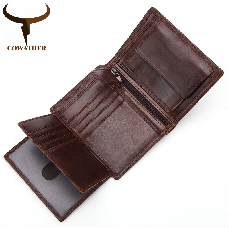 COWATHER 2019 100% Top Cow Genuine Leather Short Wallet Men High Quality Men Wallets Vintage Purse Carteira Q523 Free Shipping