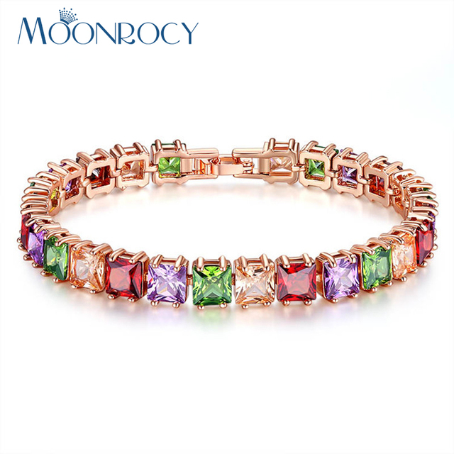 Moonrocy Free Shipping Rose Gold Color Square Colourful Crystal Cubic Zirconia Bracelet Jewelry Bangle For