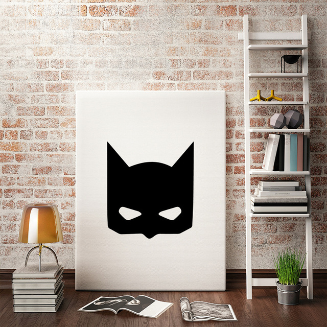 Decorative Pictures Mask Canvas Poster Wall Art for Kids Room Baby Painting Black and White Posters and Prints Frame not include