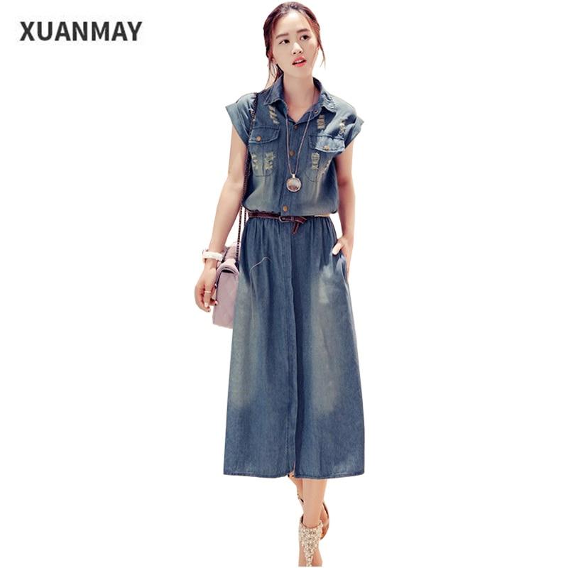 2019 Sommar Denim klänning Lång stil Blå penna Klänning Högkvalitativa kvinnors kortärmad klänning Casual Hole denim Klänning