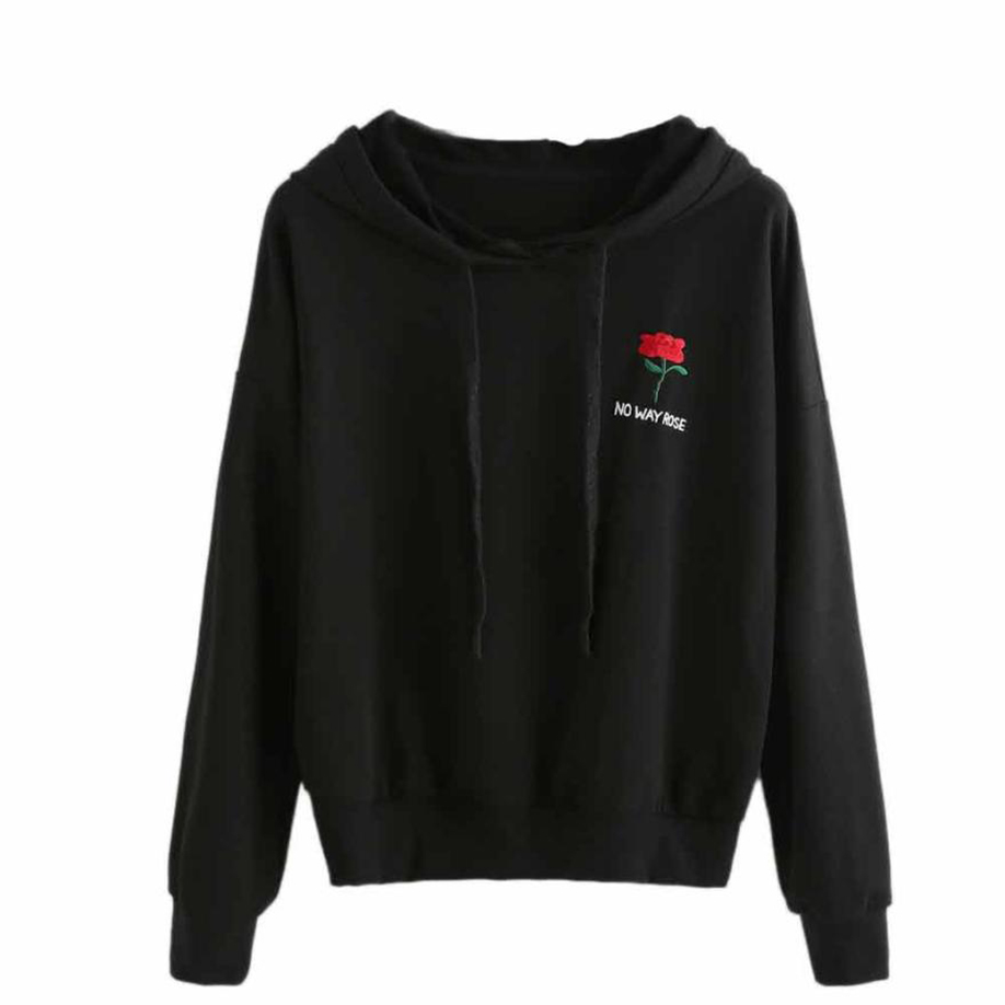 feitong Rose Tops Women Fashion Black Hooded Pullover Drawstring Sweatshirt Unique Letter Design Casual Floral Cloth