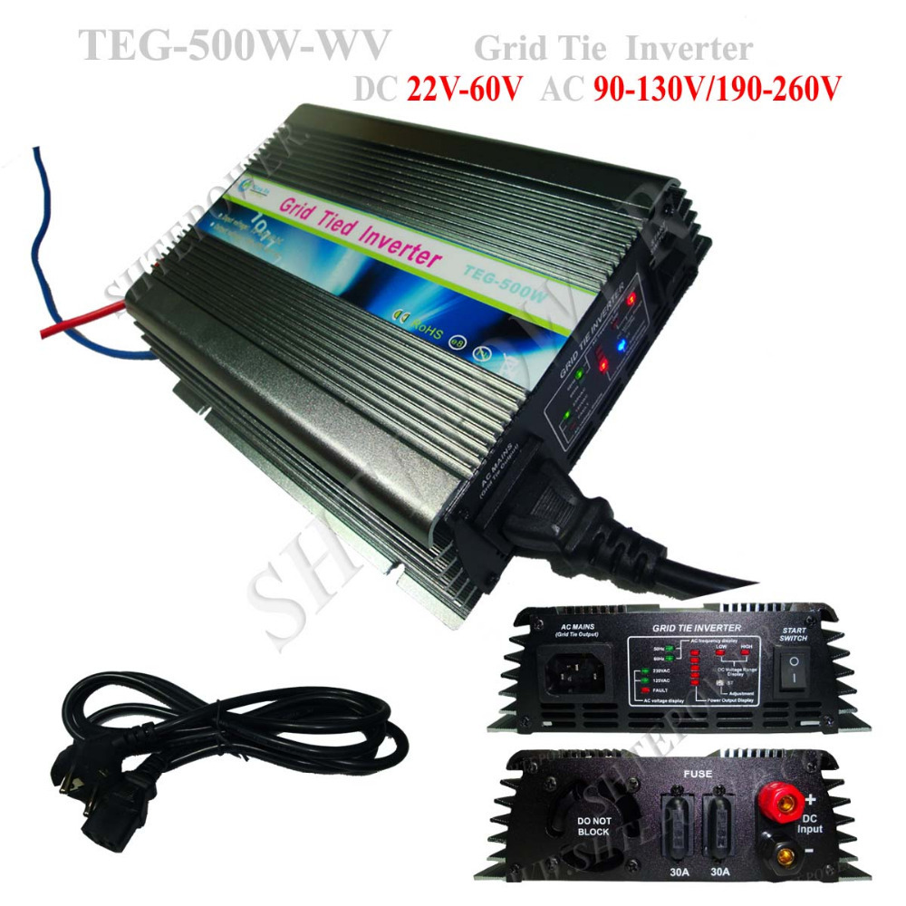 Grid Tie Micro Invereter 500W Home Solar Inverter With LCD Display 110V/120V/220V DC 22V-60V Input 500w micro grid tie inverter for solar home system mppt function grid tie power inverter 500w 22 60v