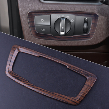1Pc ABS Interior Wooden Pattern Headlight Switch Button Cover Trim Frame fit for BMW X1 F48 2016 2017 2018 2019 image