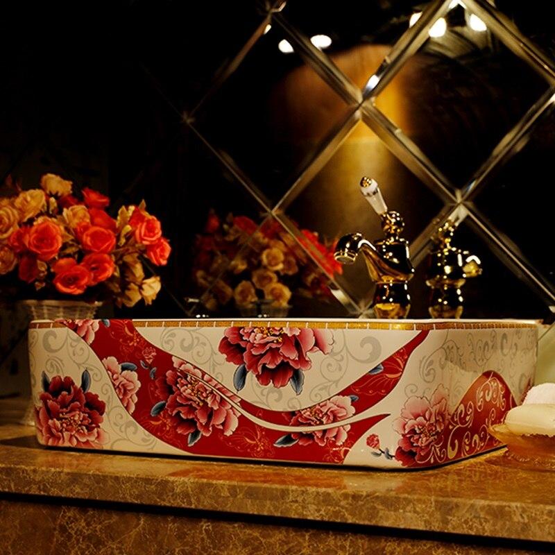 Розовая керамическая фарфоровая прямоугольная раковина для умывальника для дома и отеля