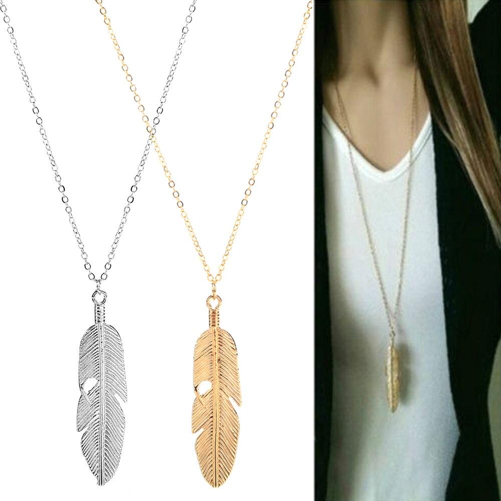 Модный простой золотистый кулон с перьями для женщин в форме листа женский длинный свитер цепочка для девушек Ювелирные изделия Подарки