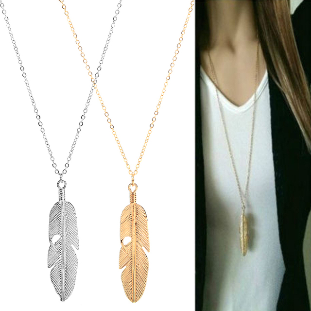 Boho Feather Shaped Pendant Necklace.