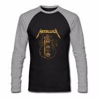 Metallica Hetfield Iron Cross Guitar Black Men S Long Sleeve T Shirt Hip Hop Rock Metal