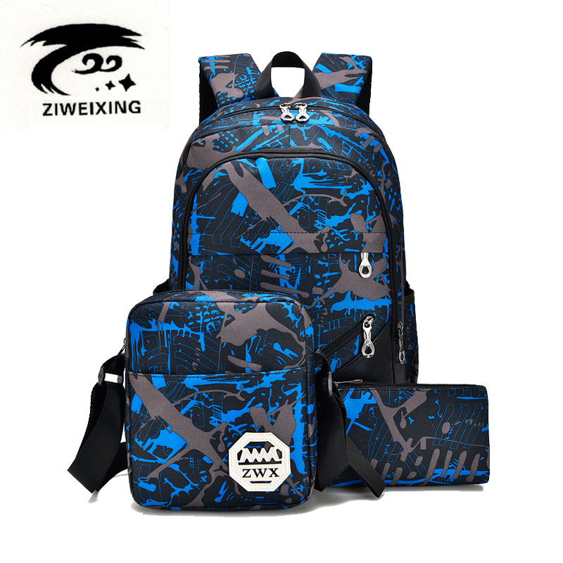 ZIWEIXING Brand Fashion Travel Backpacks For Women Casual School Backpack PU Leather Unisex Camouflage Men Shoulder