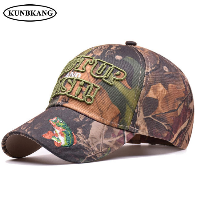 d56a7b6ea333b High Quality Men Camouflage Baseball Cap Sports Fishing Hat Bone Embroidery  Letter Summer Outdoor Fish Camo