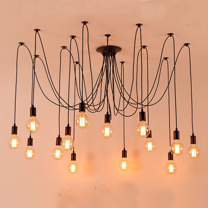 1.5 meters cable Modern Spider Industrial black vintage pendant Lamp Loft E27 220v pendant lights living room restaurants bar new arrival vintage pendant lamp modern retro industrial pendant lights for restaurant bar living room bedroom 220v e27 holder