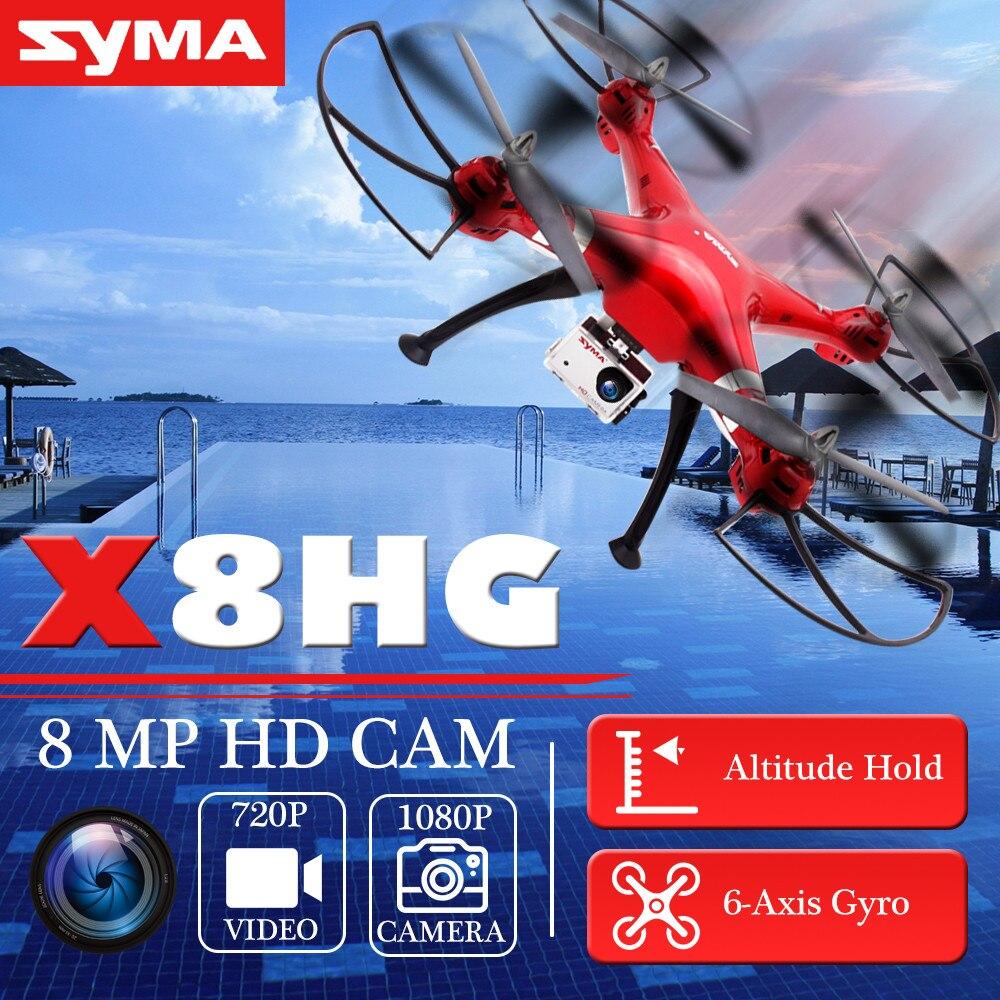 Original SYMA Professional UAV X8HG 2.4G 4CH 6 Axis RC Helicopter Drones 1080P 8MP HD Camera Quadcopter Aircraft Model Gift Toy original syma x8g 2 4g 4ch headless mode rc quadcopter helicopter drones with 8mp hd camera model 2