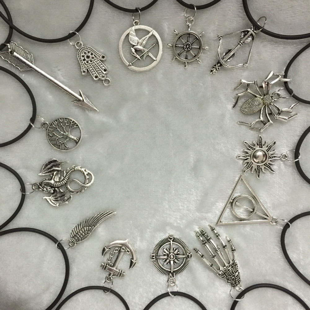 New fashion jewelry leather antique silver plated spider sun compass tree leaf pendant necklace mix design for women and men