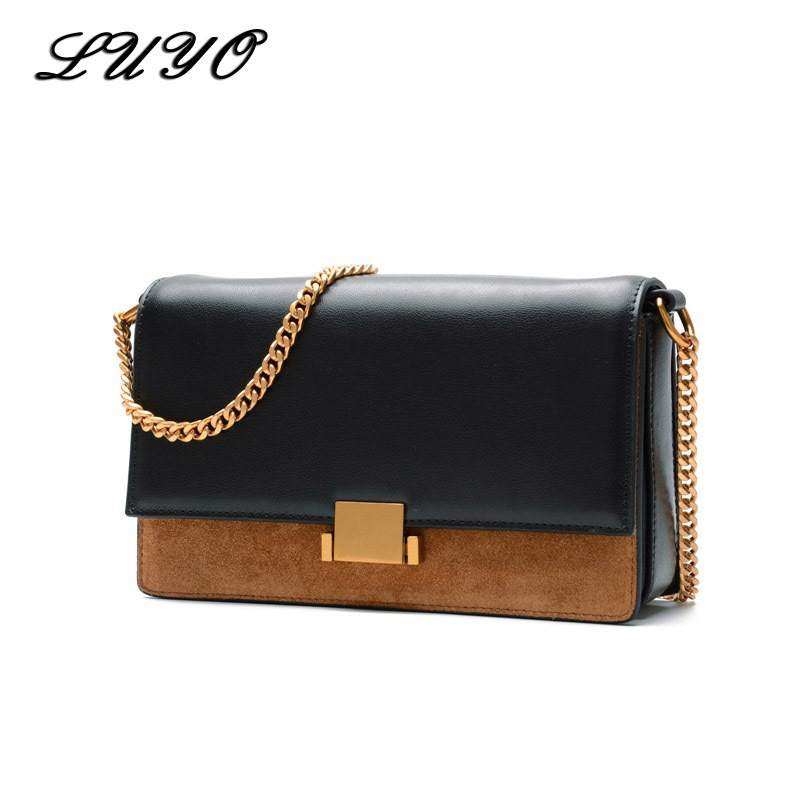 Luyo Fashion Genuine Leather Suede Luxury Ladies Handbags Brands Women Messenger Bags Designer Clutch Vintage Small Purses And