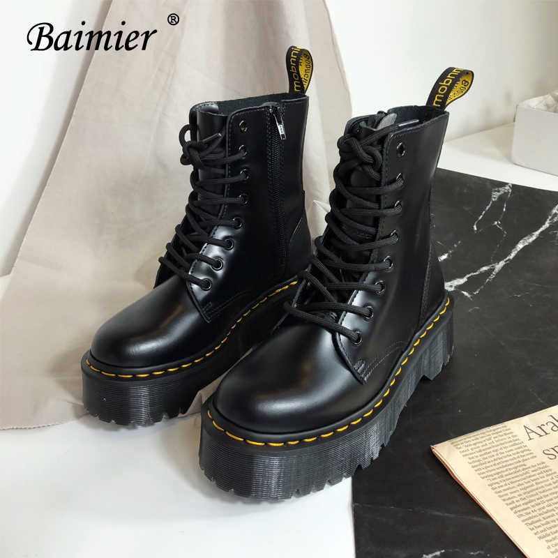 Baimier siyah Patent deri yarım çizmeler kadınlar için dantel Up platformu çizmeler kadın kış sıcak peluş kadın botları sokak stili ayakkabı
