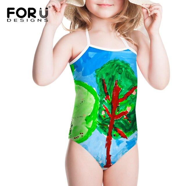 3f6ce192a2fcd Summer Drawing Style Baby Girls Swimwear Kids Girls One Pieces Swimsuit  Funny Infantil Swimwears Bathing Beachwear Gift For 3-8Y