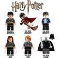 6 unids/lote harry potter hermione diy figuras de acción/ron/lord voldemort de dibujos animados modelos building blocks establece juguetes de los niños aficiones de navidad