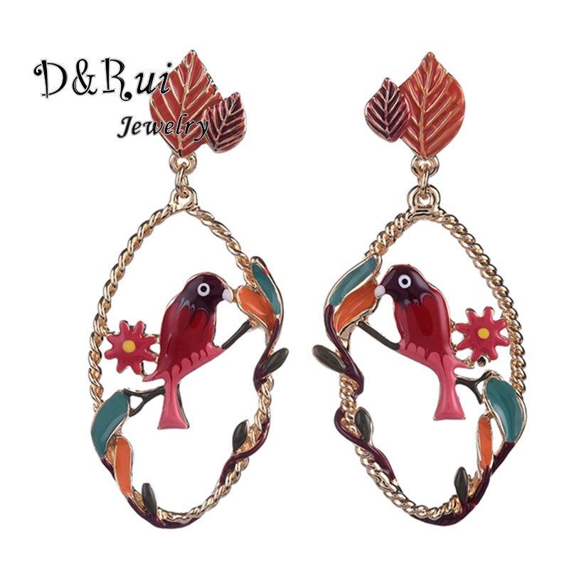 2019 Vintage Korean Charm New Animal Enamel Bird Flower Jewelry Women Long Earring Women Big Dangle Earrings Drop Large for Girl