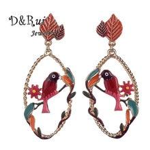 2019 Vintage Korean Charm New Animal Enamel Bird Flower Jewelry Women Long Earring Big Dangle Earrings Drop Large for Girl