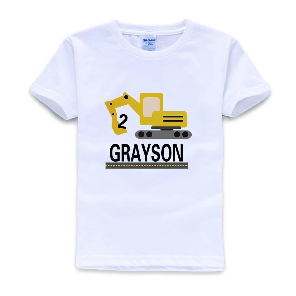 Construction Birthday Shirt Excavator Personalized Raglan Style Birthday Boy Or Girl Shirt Kids Clothes Boy 8 To 12 T Shirts Aliexpress