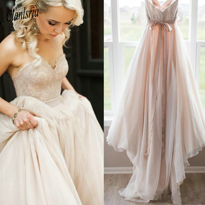 Pink Wedding Dresses 2019: 2019 Blush Pink Lace Wedding Dresses Sweetheart Backless