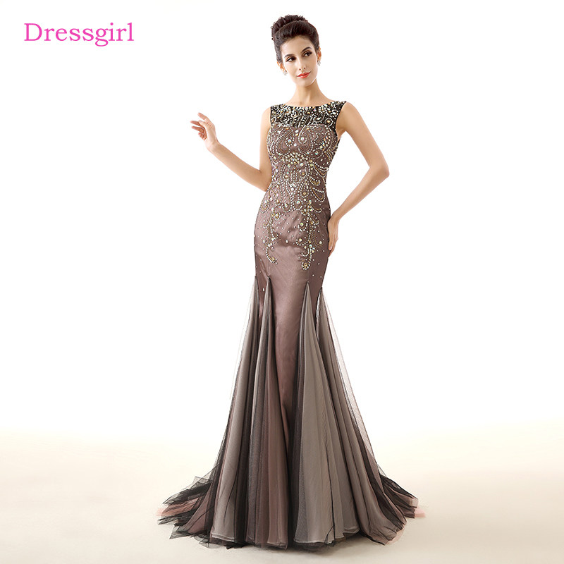 Luxurious Evening Dresses 2019 Mermaid Scoop Tulle Beaded Crystals Women Elegant  Long Evening Gown Prom Dress 21888fc9e7ef