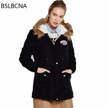 Abrigo de invierno mujer europeo heavy Hair Collar chaqueta acolchada de algodón de longitud media de talla grande Casual Slim Vintage negro Parka A411