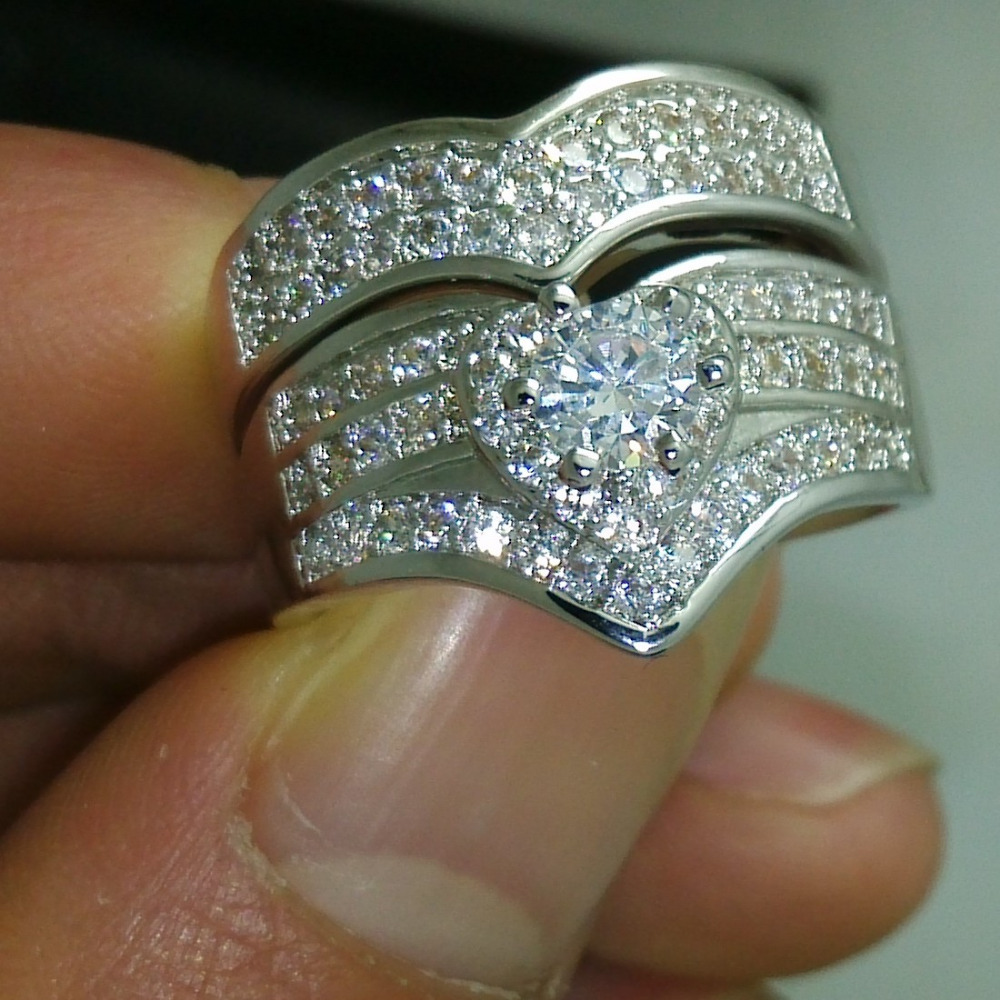 victoria wieck luxury 10kt gold filled white aaa cz diamonique simulated stones wedding ring set size - Diamonique Wedding Rings