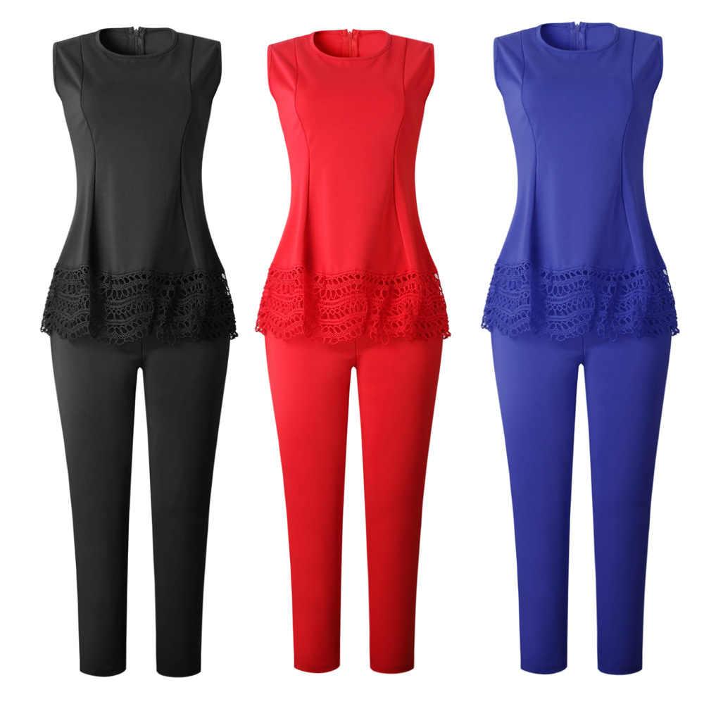 Phụ nữ Truyền Thống Châu Phi Quần Áo Mujer Đầm Vestido Africano 2 Bộ Áo Top Không Tay Và Quần Đỏ Màu Xanh Quần Dài 2019