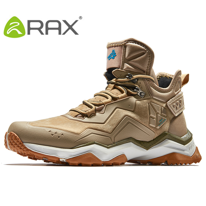 RAX Waterproof Hiking Shoes Winter Outdoor Mens Waterproof Trekking Shoes Breathable Hiking Boots Leather Sports Sneakers Men
