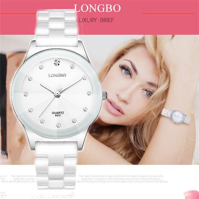 LONGBO Brand Watches Women Fashion Watch 2018 White Ceramic Luxury Waterproof Jelly Quartz Wrist Watches Relogio Feminino 8631