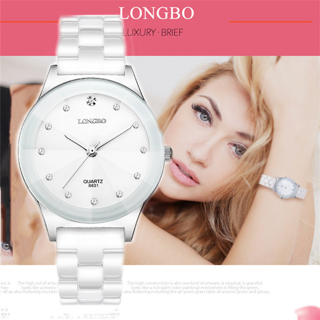 LONGBO Brand Watches Women Fashion Watch 2020 White Ceramic Luxury Waterproof Jelly Quartz Wrist Watches Relogio Feminino 8631