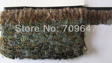 Wholesale!10Meters/Lot Height 5-6cm Ringneck Pheasant Green Almond Feather Trim Fringe freeshipping