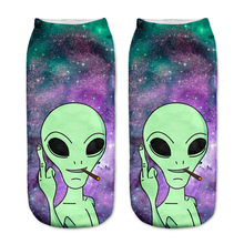 Aliens Socks 3D Printing Female Socks Women Low Cut Ankle Socks Calcetines Mujer Casual Hosiery Printed Sock