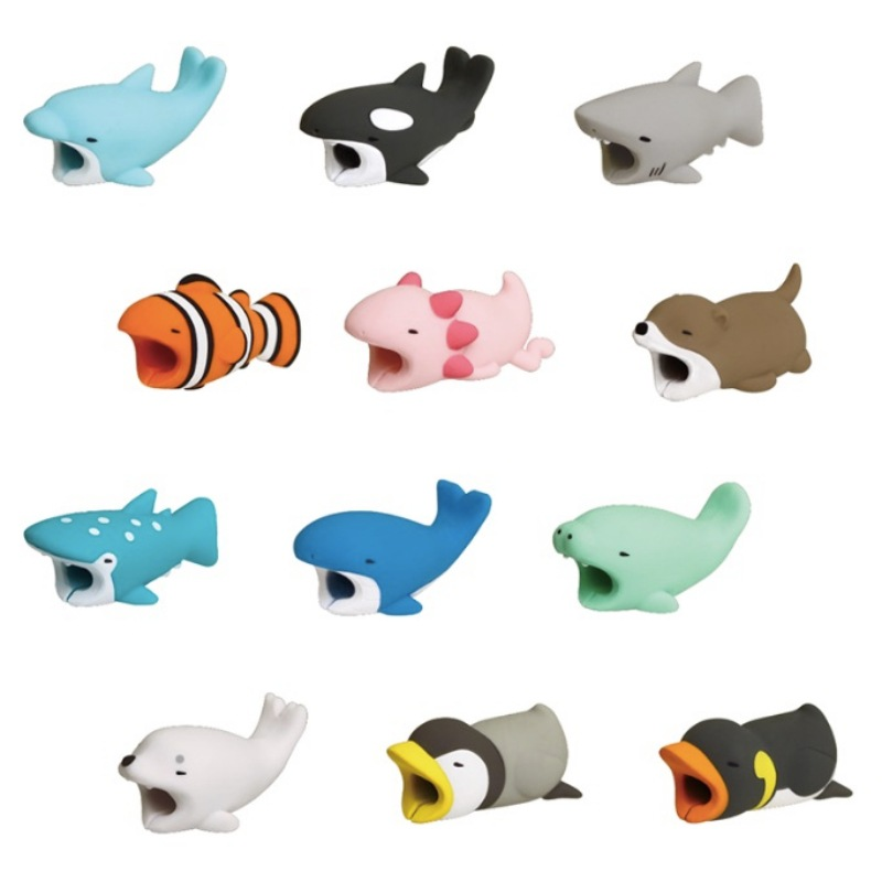 1 pcs Cable Bite Protector for Iphone cable Winder Phone holder Accessory Organizer rabbit dog cat Animal doll model funny
